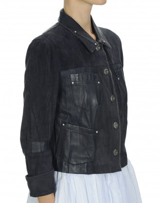 COVERT: Navy leather and suede jacket
