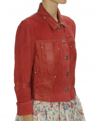 COVERT: Red Leather and suede jacket