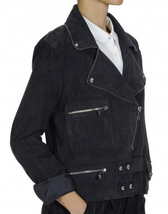 REBEL: Navy suede biker style jacket