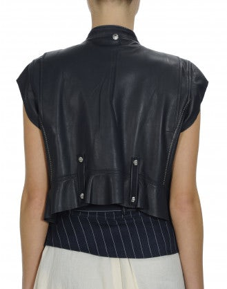 ROWDY: Navy suede and leather biker gilet