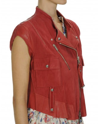 ROWDY: Red suede and leather biker gilet