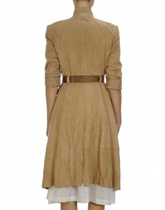 MAGNITUTDE: Double breasted golden sand suede coat