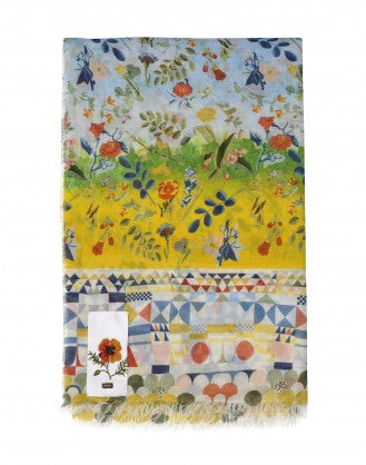 "FOLLY: Sciarpa con motivi geometrici e floreali ""neo-vintage"""