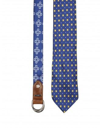 TRANSFIX: Cintura annodabile in seta blu, gialla e avorio