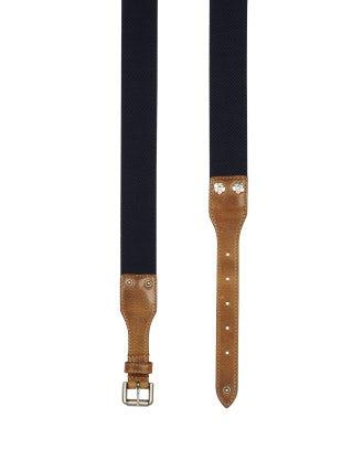 NOTCH: Cintura elasticizzata blu con chiusura in pelle