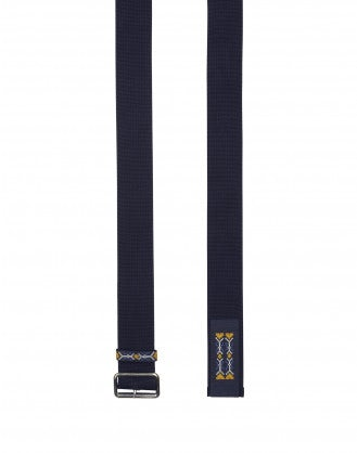 STATEMENT: Cintura blu navy in tessuto con ricamo