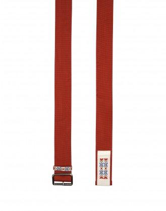 STATEMENT: Cintura rossa in tessuto con ricamo