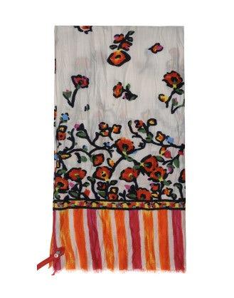 SCENARIO: Sciarpa a righe con motivo floreale naif