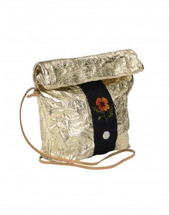 CHARMING: Borsa a sacchetto in pelle dorata