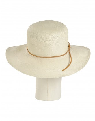 ALLURE: Cream straw panama hat