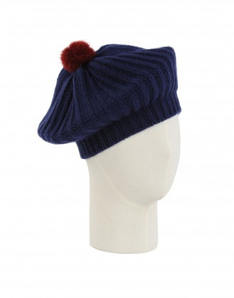 BALLYHOO: Knitted beret with pompom