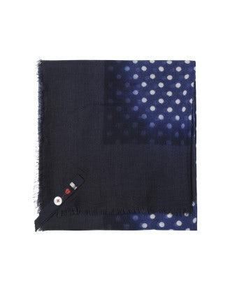 POKER: Blue and white polka dot scarf
