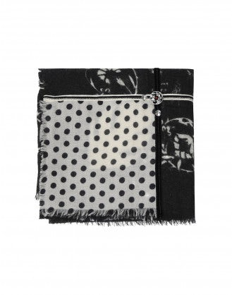 CLAVIER: Black wool and silk multi panel embellished scarf