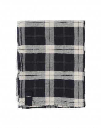 FLURRY: Sciarpa scozzese crema, navy e grigio