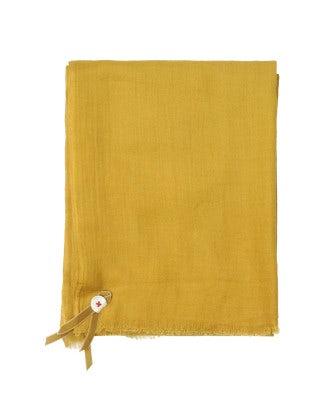 SOLSTICE: Sciarpa in lana giallo ocra