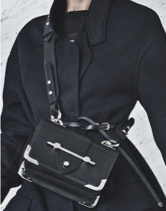 MEMENTO: Black leather shoulder bag