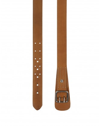 SECURE: Tan leather double prong belt