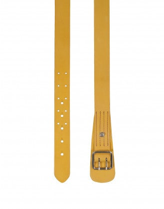 SECURE: Yellow leather double prong belt