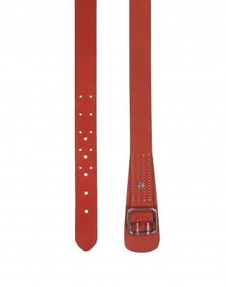 SECURE: Red leather double prong belt