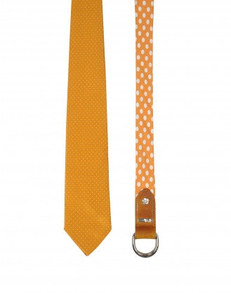 "TRANSFIX: Orange and ivory ""Necktie"" belt"
