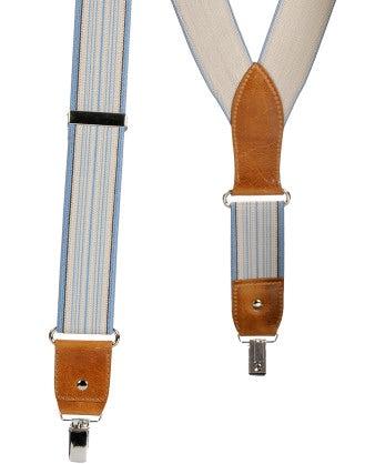 LIBERTINE: Blue and cream stripe elastic braces