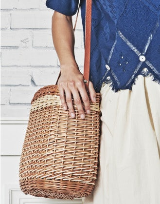 """SCURRY: Two tone ''bucket"""" basket bag"""