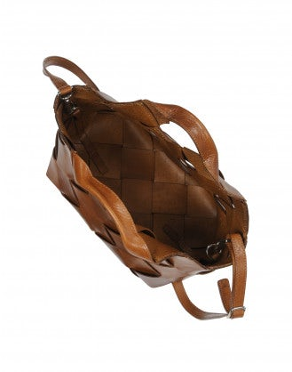 ZIG ZAG: Leather bag in wide lattice work