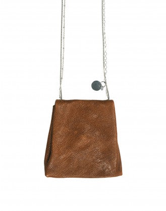 LUCK: Dark tan leather pouch pendant