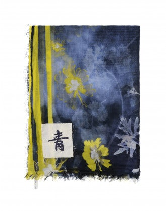 "ARTISTIC: Blue, yellow and white ""ghost"" floral scarf"