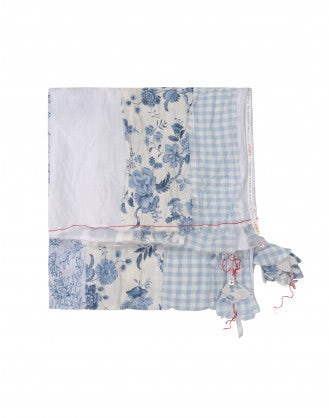 CASCADE: Rectangular scarf in check, stamp and floral print