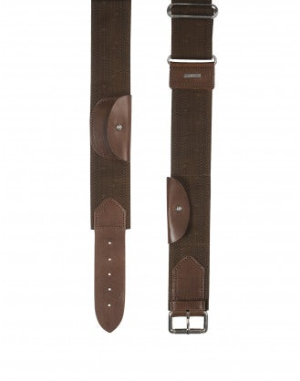 "HEIST: Woven"" webbing and leather ""Safari"" belt"