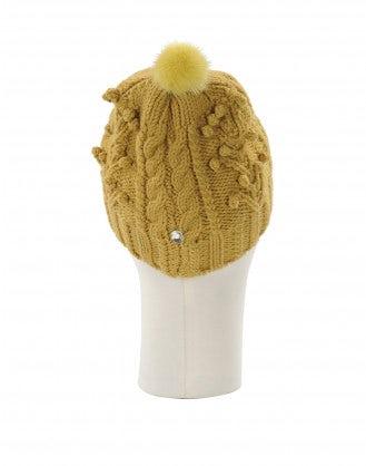 SONYA: Cuffia senape in maglia intrecciata e pompom in visone
