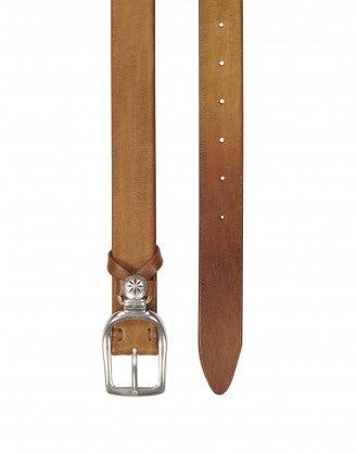 CANTLE: Cintura in pelle anticata, marrone chiaro