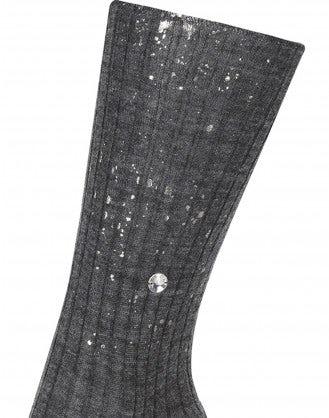 ARAN: Calze a coste grigio chiaro con effetto verniciatura metallizzato