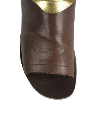 GURU: Brown & gold open toe leather sandal