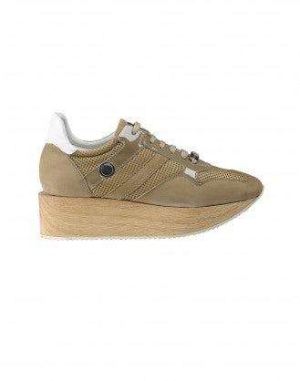 PODIUM: Beige sneaker with wood platform sole