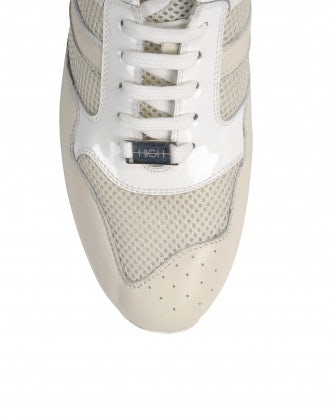 PODIUM: Cream sneaker with wood platform sole