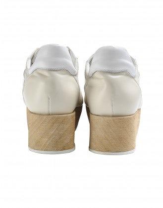 PODIUM: Sneakers color crema con zeppa effetto legno