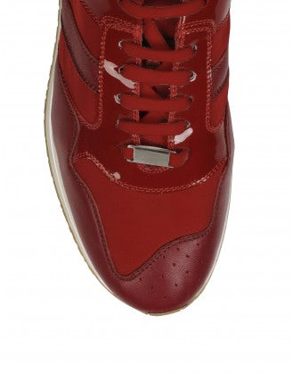 FRANTIC: Red patent leather luxe sneakers