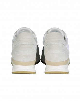 FRANTIC: Cream suede luxe sneakers