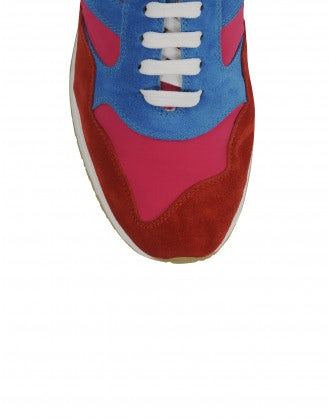 FRANTIC: Red, fuchsia and light blue sneakers