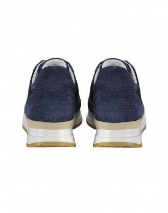 FRANTIC: Navy suede luxe sneakers