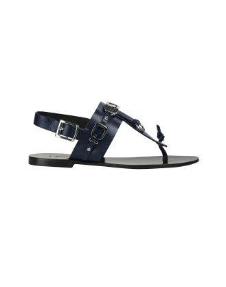 ADORN: Sandalo in pelle blu navy con dettagli in metallo