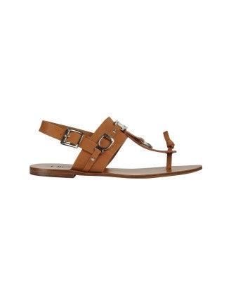 ADORN: Sandalo in pelle marrone chiaro con dettagli in metallo