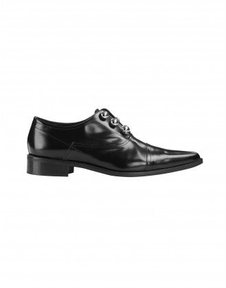 GUILE: Black winkle picker leather brogues