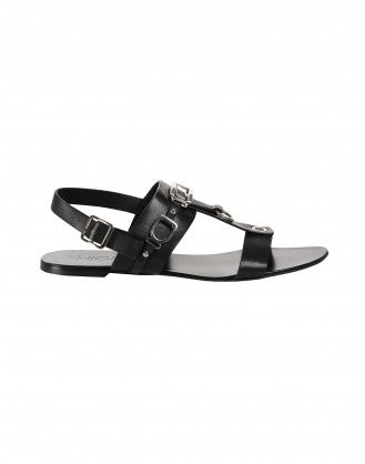 TEMPTRESS: Black t-bar sandals