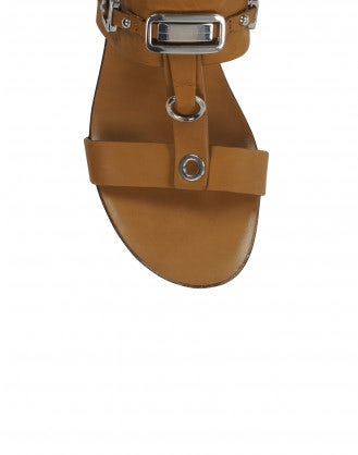 TEMPTRESS: Tan t-bar sandals