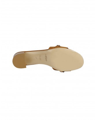 ACUTE: Tan slip-on block-heel mules