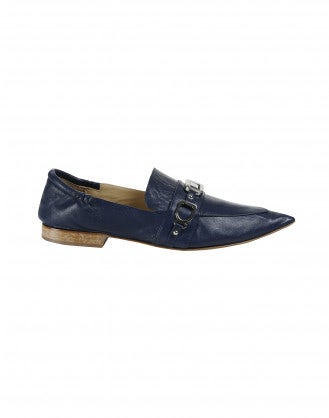 CALIBRE: Navy pointed toe loafers