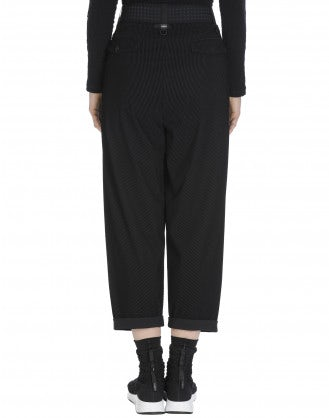 HASTEN: Flock stripe pleated front pant